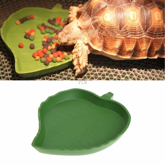 1PC New Plastic Reptile Pet Water Food Dish Bowl Gecko Meal Worm Feeder Green Leaf Shape 2size Turtle Aquatic Pets Supplies
