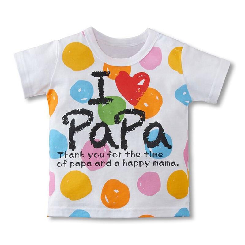 Hot Sale Boys Girls T Shirt Short Sleeve I Love Pa Pa Ma Ma Series font