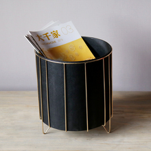 Modern and Simple Design Office Tabletop Storage Box Black Metal and Leather Round Box for Home