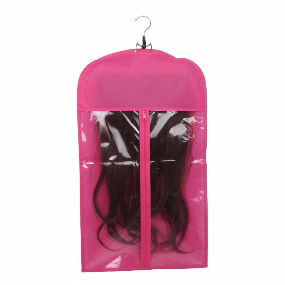 50 gab. Rozā melnā matu pieaudzēšanas pārvadātāja uzglabāšana Matu pieaudzēšanas uzvalka somiņa un pakaramais parūku statīvi ar logotipu