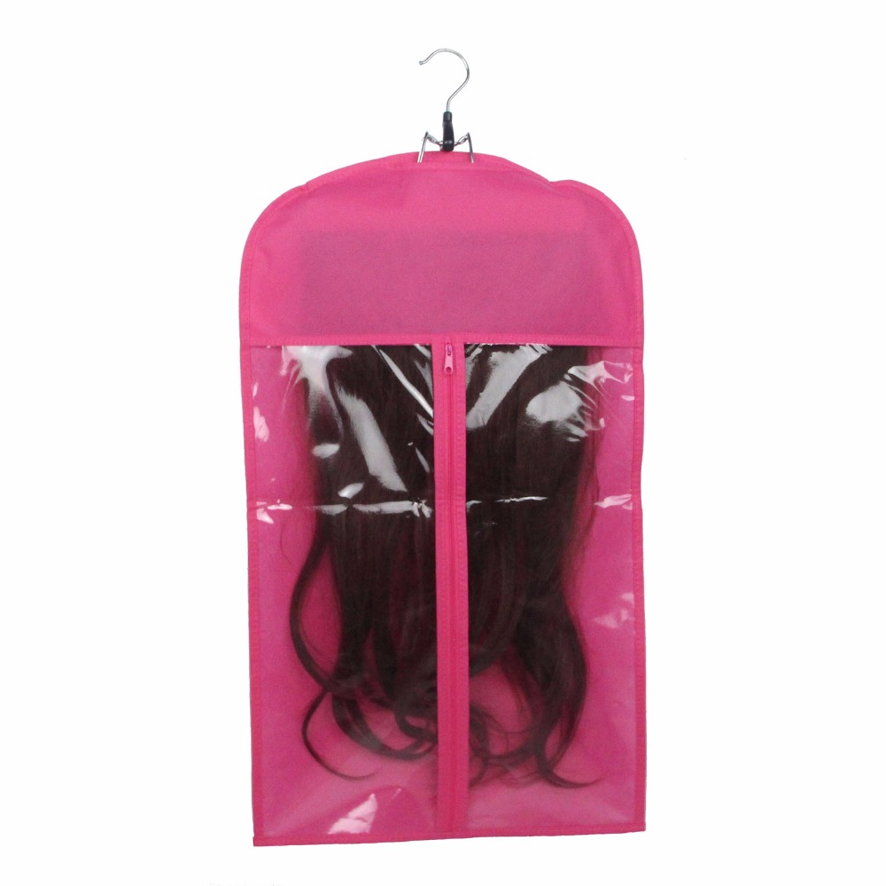50 pcs Pink Black Hair Extension Carrier Storage Hair Extension Suit Case Bag and Hanger Wig Stands with Logo Customized