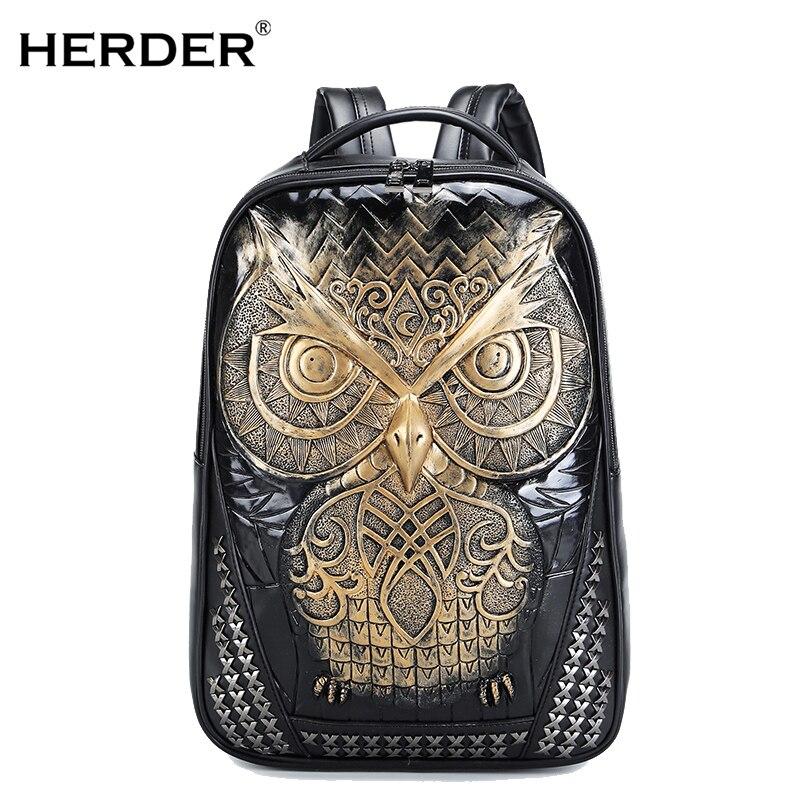 6166991dfc1 HERDER Heren Dames Rugzakken 3D Owl Gother street Leren Laptop ...