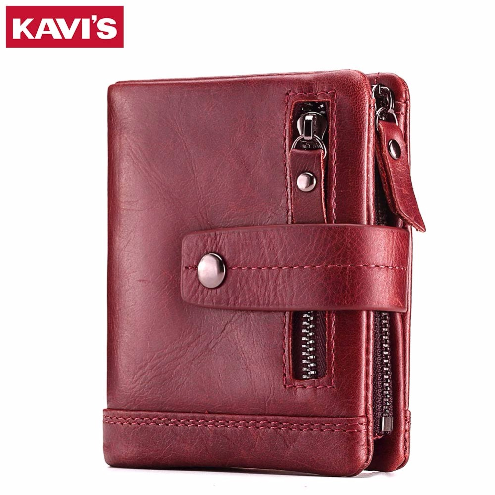 KAVIS 100% Genuine Leather Women Wallet Female Coin Purse Small and Walet Portomonee Lady Mini Zipper for Girl Vallet Perse Rfid