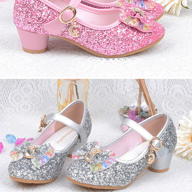 1_072016 spring Kids Girls High Heels For Party Sequined Cloth Blue pink Shoes Ankle Strap Snow Queen Children Girls Pumps Shoes