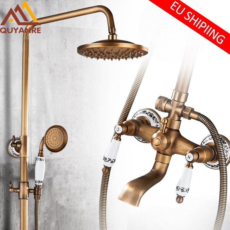 Quyanre Antique Brass Shower Faucets Set Ceramic Porcelain Shower Swivel Spout Wall Mount Dual Knobs Mixer Tap Bath Shower Kit