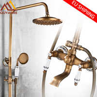 Quyanre Antique Brass Shower Faucets Set Ceramic Porcelain Shower Swivel Spout Wall Mount Dual Knobs Mixer Tap Bath Shower Kit