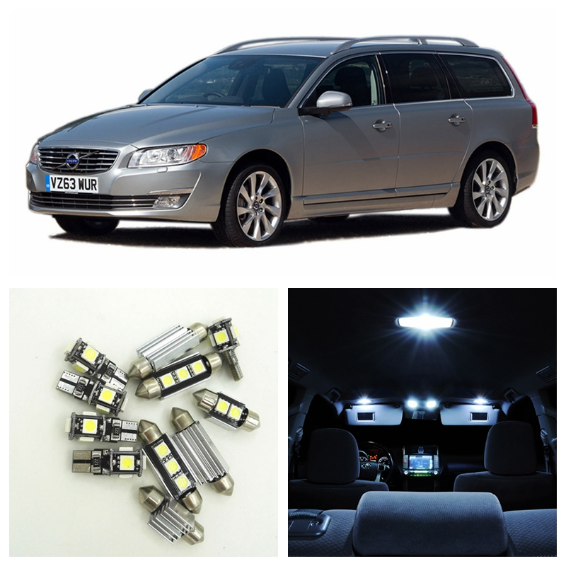 11pcs White Canbus Car LED Light Bulbs Interior Package Kit For 2008 2009 2010 Volvo V70 Estate Wagon Map Trunk Door Lamp car rear trunk security shield cargo cover for jeep compass 2007 2008 2009 2010 2011 high qualit auto accessories