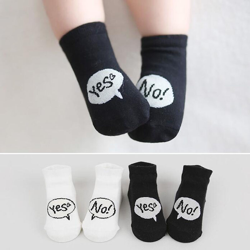 Yes No White Black Baby Socks Soft Cotton Children Ankle