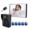 "Luxury Home Security  HD 7"" Video Door Phone Doorbell Intercom IR Camera Monitor Electric Strike Lock RFID Keyfobs"