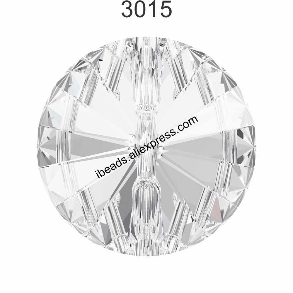 (1 Buah) 100% Asli Kristal dari Swarovski 3015 Round Crystal Tombol Rhinestone DIY Gaun Pakaian Membuat Sepatu Bot Salju Tombol