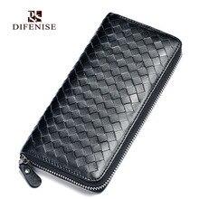 Difenise Brand Handmade Female Sheepskin Genuine Leather Wallets Fashion Weave Knitting Luxury Elegant Women Wallet And Purse