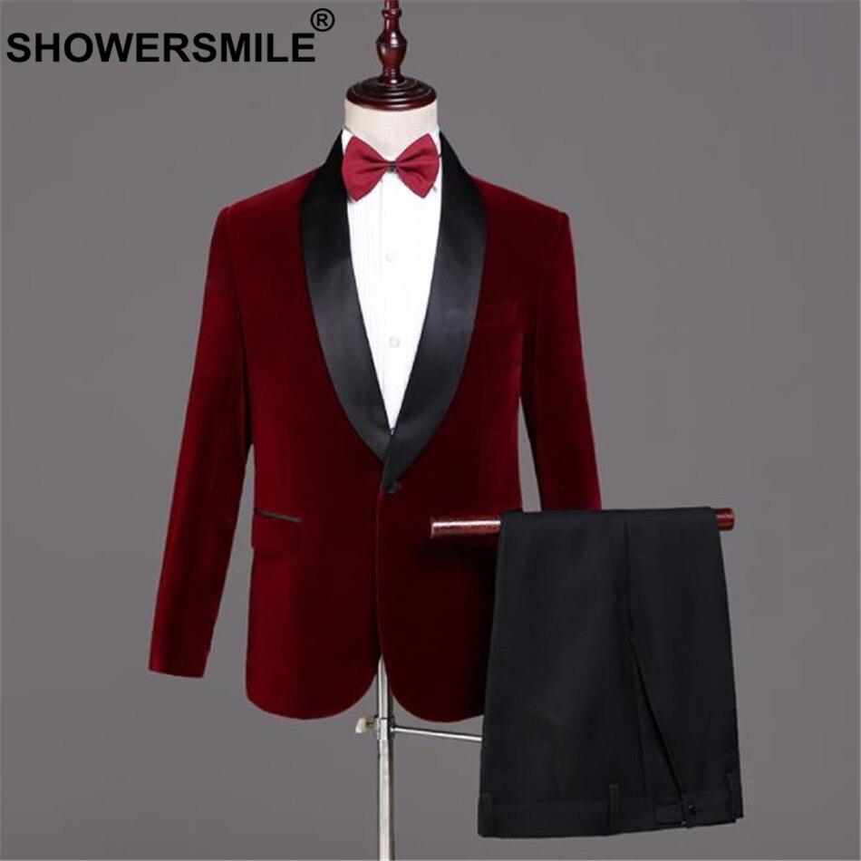 SHOWERSMILE Velvet Burgundy Blazer Men Suits 3 Pieces Set British Style Red Suit Jacket Wedding Groom Singer Slim Fit Blazer-in Suits from Men's Clothing    2