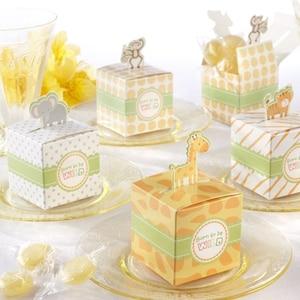 100 шт./лот Born to be Wild Jungle животные детские коробки для душа, коробка для конфет для вечеринки, украшения для детского душа, бесплатная доставка