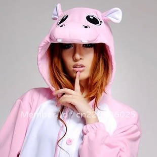 Women Men Pink Hippo Onesies Sleepwear Winter Cosplay Pajamas for Party Halloween Costumes Christmas Party Performance clothing