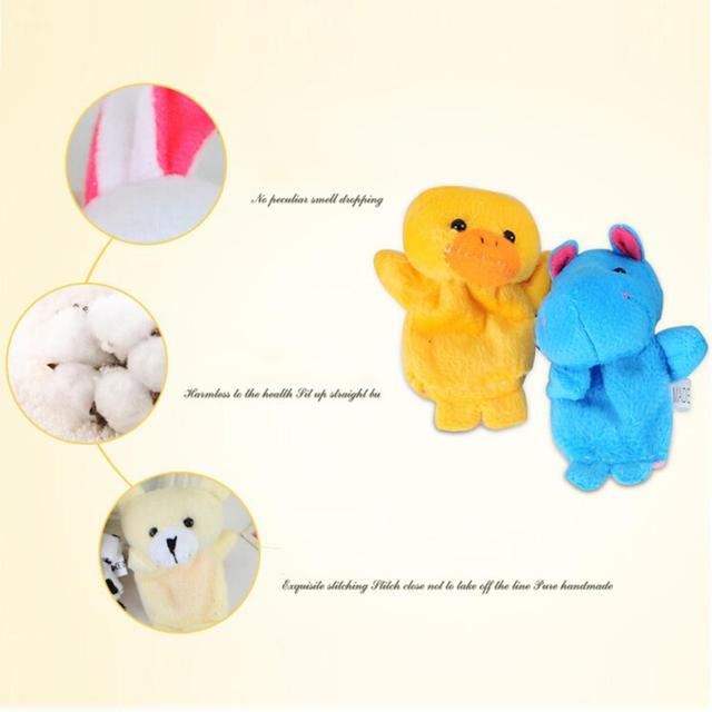 10 Pcs/lot Baby Plush Toys Cartoon Happy Family Fun Animal Finger Hand Puppet Kids Learning & Education Toys Gifts 1
