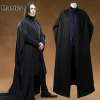 Professor Severus Snape Cosplay Costume Cloak Black Robe Adult Men Hogwarts School Deathly Hallows Halloween Clothes