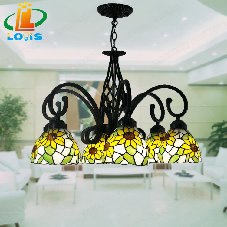 6 Sunflower Tiffany glass chandeliers fresh yellow living room lighting fixtures Continental Tianyuan Yi home sunflower sf20110907z