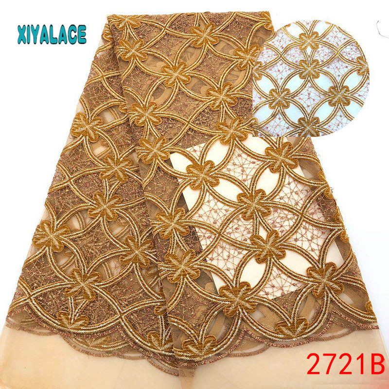 African Lace Fabric 2019 High Quality Nigerian Lace Fabrics Organza Sequins Embroidery French Tulle Lace Fabric YA2721B-1