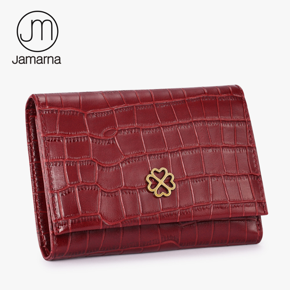 Jamarna Brand Crocodile Genuine Leather Women Wallets Short Coin Purse Card Holder Small Female Wallet For Women Red NEW jamarna brand wallet female genuine leather long clutch women purse with phone holder women wallets fashion crocodile leather