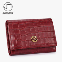 Jamarna Brand Crocodile Genuine Leather Women Wallets Short Coin Purse Card Holder Small Female Wallet For