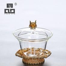 TANGPIN heat-resistant glass gaiwan teacup kung fu tea sets drinkware 150ml