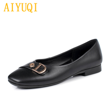 Купить с кэшбэком AIYUQI Women's flat shoes 2019 spring new genuine leather women's casual shoes, large size 35-43 square head mother shoes women