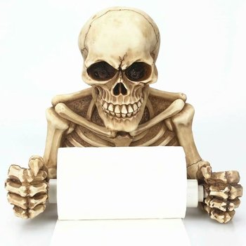 Spooky Grinning Skull Medieval Toilet Paper Holder Resin Gothic Skeleton Figurine Statue Home Scary Halloween Decor Sculptures 1