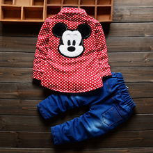 2016 new spring autumn suit baby suit set 100% cotton Cartoon plaid shirt + trousers 2pcs/sets of children boys free shipping