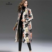 Trench Coat For Women British Style Plus Size Jacquard Weave Long Duster Coat Fashion Womens Size