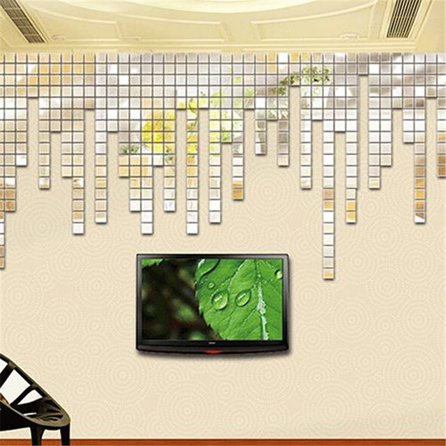 100Pcs 2x2cm Acrylic 3D Mural Wall Stickers Mosaic Mirror Effect Room DIY Square Wall Decor Home Mirror Stickers Decoration