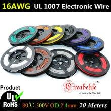 Conducteur de fil électronique | Flexible, 10 couleurs UL, diamètre 1007mm, 16 AWG, 20 mètres/roll, conducteur de fil électronique à bricolage