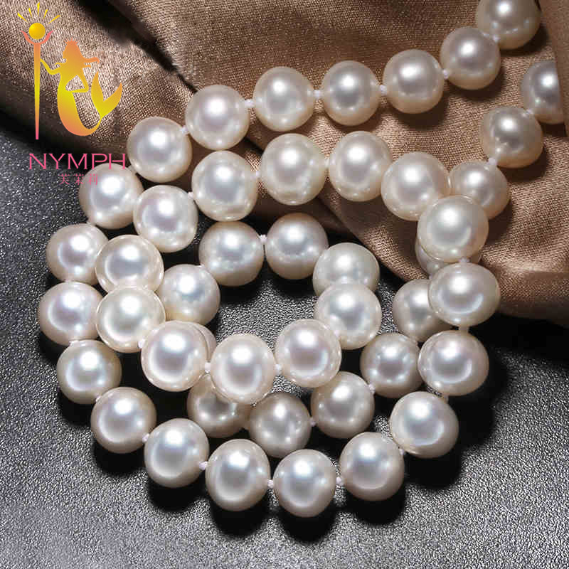 NYMPH Pearl Jewelry Natural Freshwater Pearl Necklace Choker Necklace White 9-10mm Round Pearl Wedding Gift For Women X913 недорого