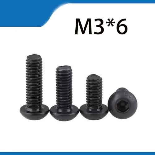 Free Shipping 100pcs M3x6 mm M3*6 mm yuan cup Half round pan head black grade 10.9 carbon Steel Hex Socket Head Cap Screw 20pcs m3 6 m3 x 6mm aluminum anodized hex socket button head screw