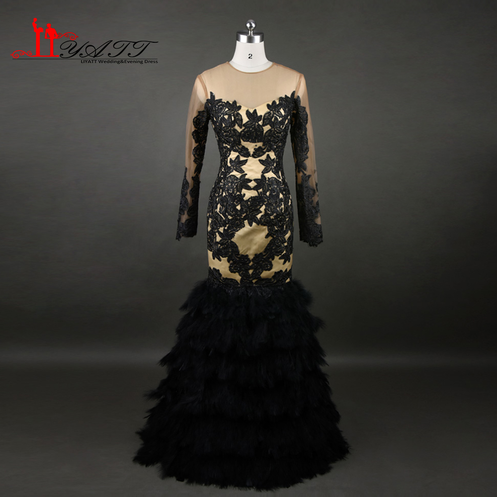 Luxury Black Feather Prom Dresses With Long Sleeves Sheer Champange ...