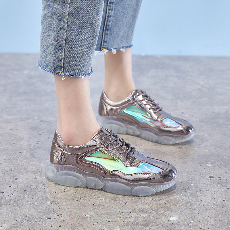 21eadebd95 Dumoo Brand 2019 Shoes Women Sneakers Shoes Silver Brilliant Spring Casual Shoes  Female Colors Shoes Heel