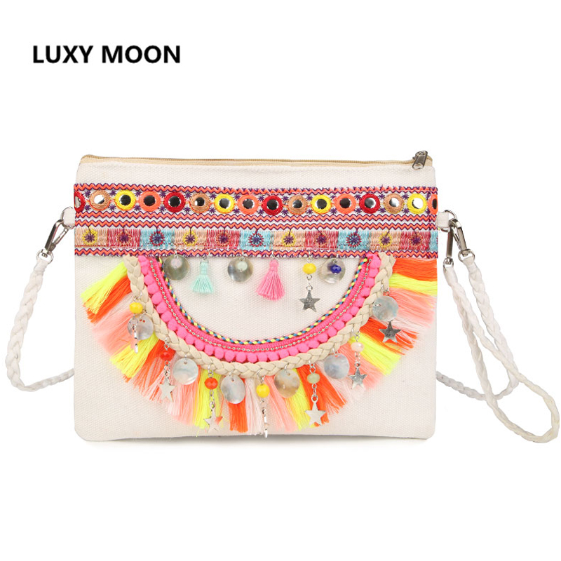Ethnic Style Canvas Messenger Bags Handmade Embroidery Small Shoulder Bags For Women Bohemia Female Purse Bolso hand bag