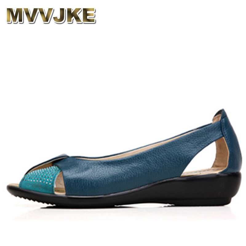 MVVJKE 2018 Summer Women Shoes Woman Genuine Leather Platform Sandals Open Toe Mother Wedges Casual Sandals Women Sandals gktinoo summer shoes woman genuine leather sandals open toe women shoes slip on wedges platform sandals women plus size 34 43