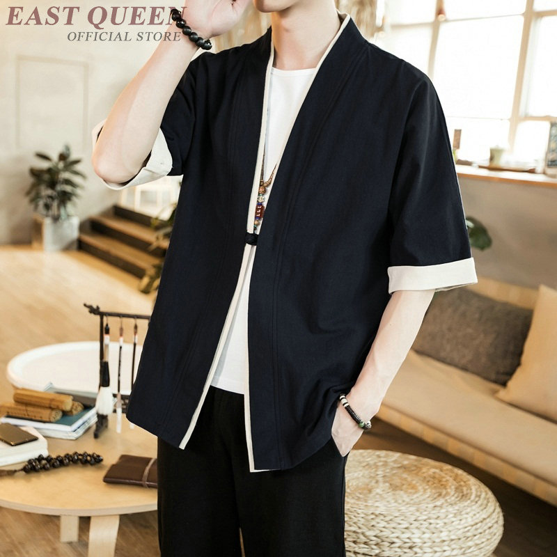 Traditional Chinese Clothing For Men Oriental Male Bomber Jacket Kung Fu Wushu Clothing Chinese Linen Shirts Men  AA001