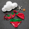 2-6Y Cutest Baby Girls Swimming Suit+Swimming Cap Strawberry Shape Design Kawaii Children Beach Clothes 3Pcs Kids Swimwear