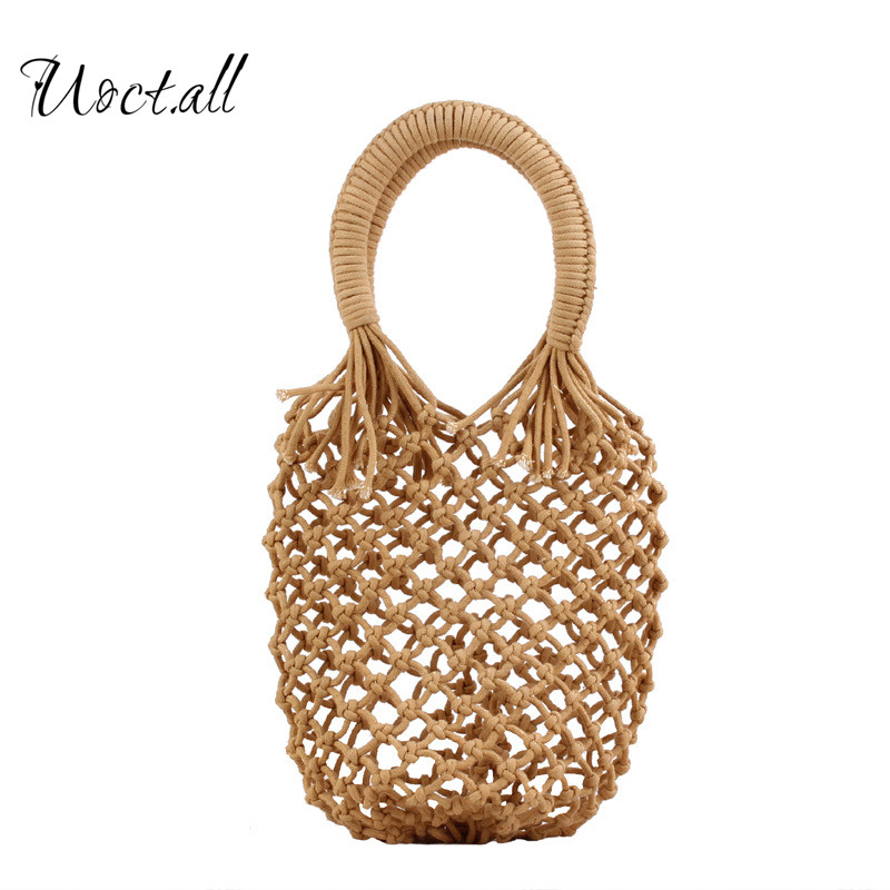 New Solid Color Net Hand-woven Straw Bag For Women Cotton Rope Holiday Beach Hand Bags Hollow White Summer Handbag Korean Style