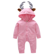 VTOM Autumn New Baby Rompers Infant Long-sleeved  Hooded Jumpsuits Boys Girls Cotton Solid Clothes With Quality Assurance