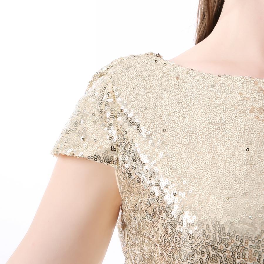 Champagne Sequin Bridesmaid Dresses 2017 Hot Long Wedding Party Dress vestidos de festa vestido longo Prom Dress 6