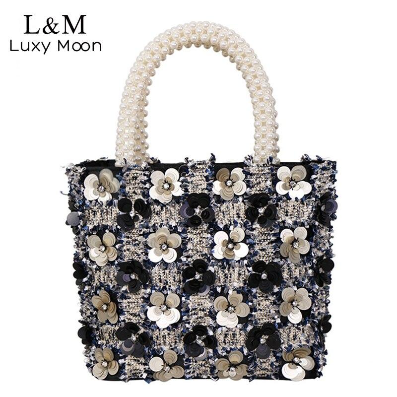 Mode paillettes perle poignée fourre-tout pour les femmes sac de luxe sac à main Designer femelle Floral boîte sacs à main laine bolsa feminina XA467H