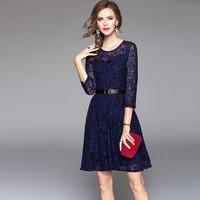 2017 Autumn Lace Dress 3 4 Sleeve O Neck Solid Color Blue Lace Elegant Office Dresses