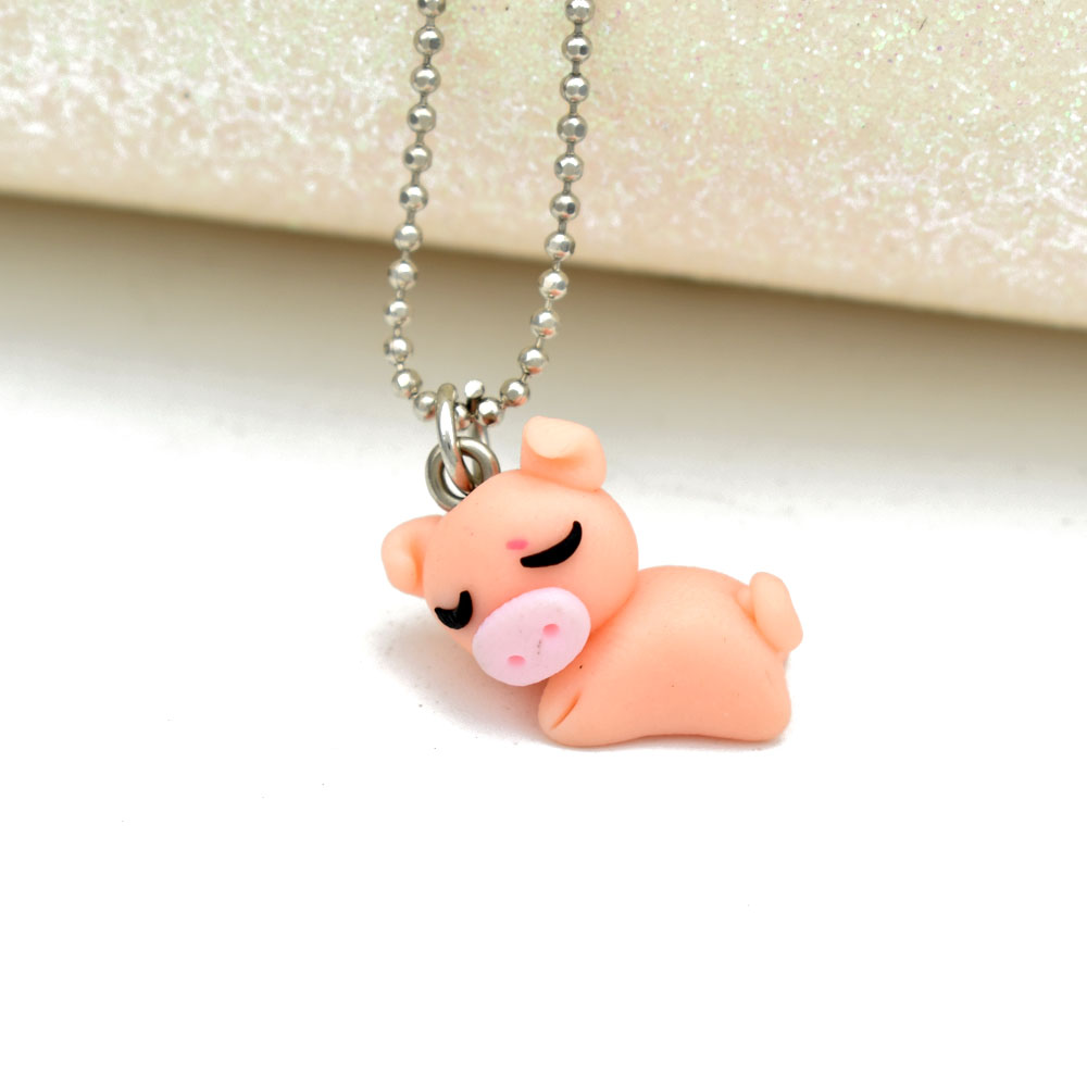 Bing tu cute sleepy pig pendants necklaces polymer clay animal bing tu cute sleepy pig pendants necklaces polymer clay animal chain necklace handmade diy cartoon jewelry for kids girls in pendant necklaces from jewelry mozeypictures Gallery