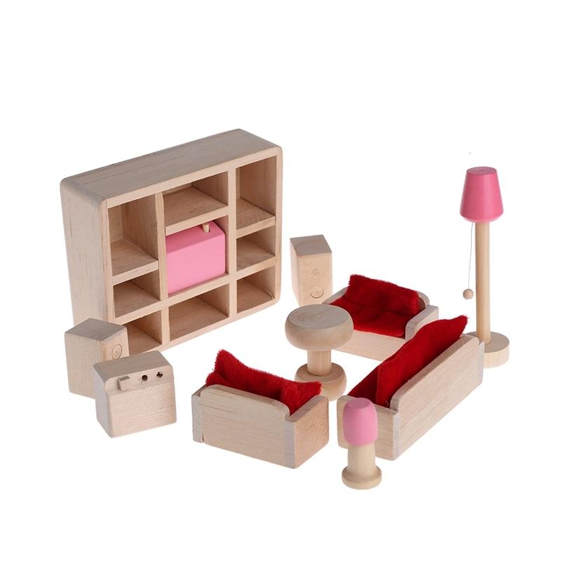 Малыш Деревянный Мебель Куклы дом Миниатюрный номер 5 Набор Кукла для рождественские подарки W30