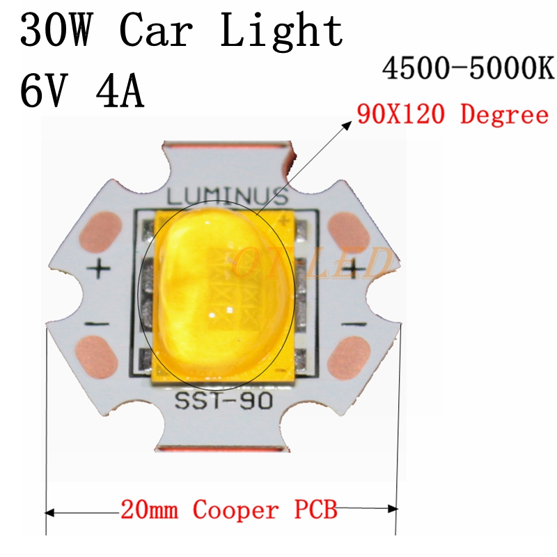 NEW 1pcs 30W Cree Xlamp 6V Car Light LED Chip Emitter instead of XHP70 SST-90 LED Neutral White 4500-5000K with 20MM Copper PCB