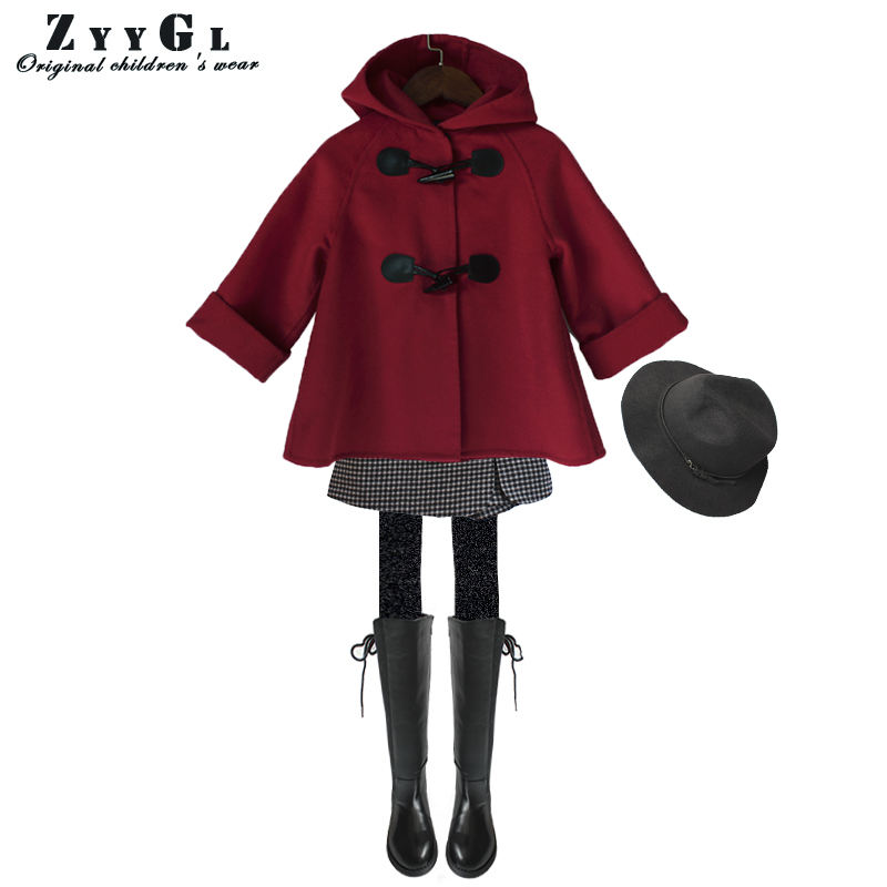 ZYYGL Autumn New 2017 girls clothing Cashmere coat red Wool coat Winter Coat children Warm European Fashion Jacket Outwear 2017 children wool fur coat winter warm natural 100% wool long stlye solid suit collar clothing for boys girls full jacket t021