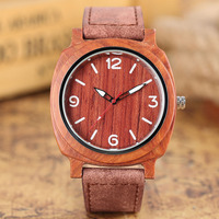 YISUYA Luxury Mens Wood Watch Oval Face Genuine Leather Handmade Quartz Wristwatch 100 Original Bamboo Clock