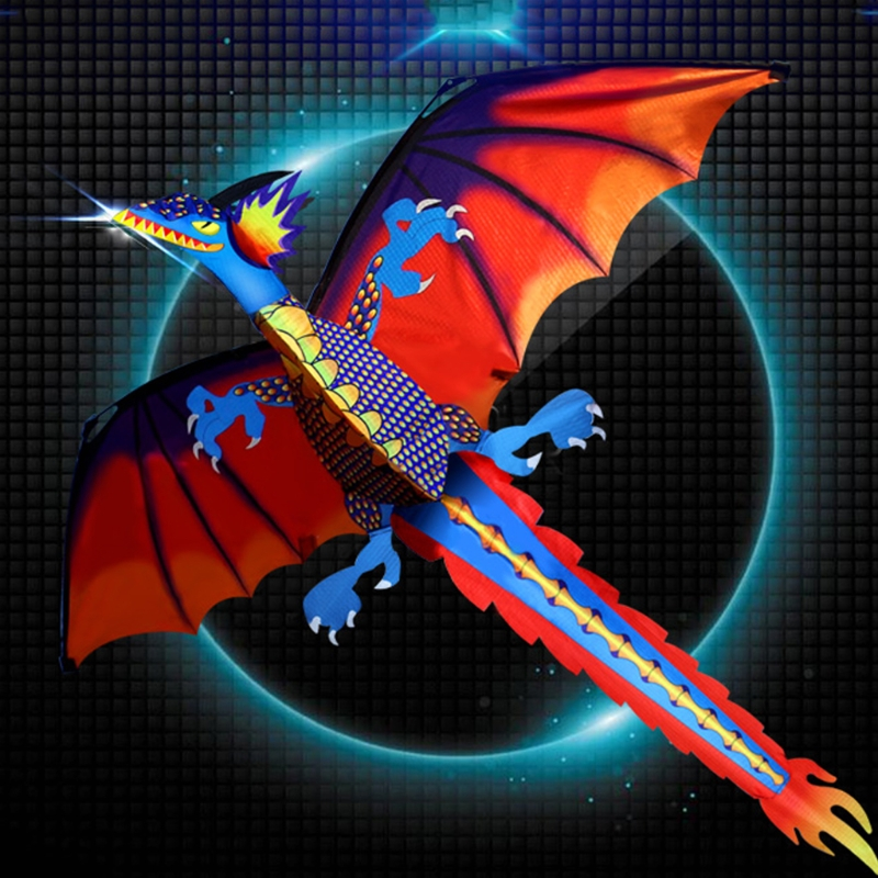New 3D Dragon Kite With Tail Kites For Adult Kites Flying Outdoor 100m Kite Line 16 colors x vented outdoor playing quad line stunt kite 4 lines beach flying sport kite with 25m line 2pcs handles